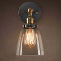 WinSoon Edison Wall Mount Light Sconces Aged Steel Finish Glass(A) All Products