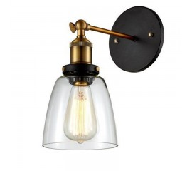 WinSoon Edison Wall Mount Light Sconces Aged Steel Finish Glass(A)