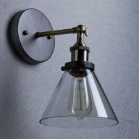WinSoon Edison Wall Mount Light Sconces Aged Steel Finish Glass(B) All Products