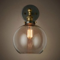 WinSoon Edison Wall Mount Light Sconces Aged Steel Finish Glass(C) All Products