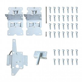 Winsoon 2 Hinges and 1 Latch Gate Hinges Self-Closing for Vinyl gate kit and PVC Fences with Latch White Stainless steel 304 Sturdy