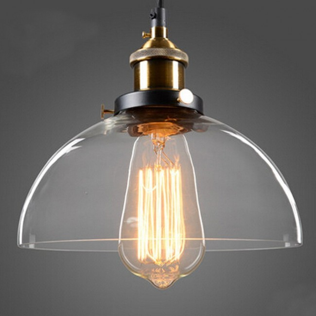 Vintage Industrial Glass Pendant Light: WinSoon Half-Globe Vintage Industrial Ceiling Lamp Glass