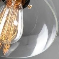 WinSoon Half-Globe Vintage Industrial Ceiling Lamp Glass Pendant Lighting Loft Shade