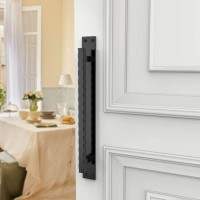 Winsoon heavy duty big size black steel wave door handle for sliding barn door hardware
