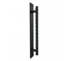Winsoon heavy duty big size black steel wavy door handle for sliding barn door hardware