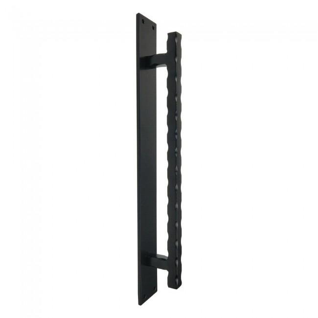 Winsoon big size black steel wavy door handle for sliding barn door hardware