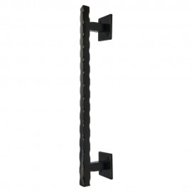Winsoon heavy duty small size black steel wave door handle for sliding barn door hardware