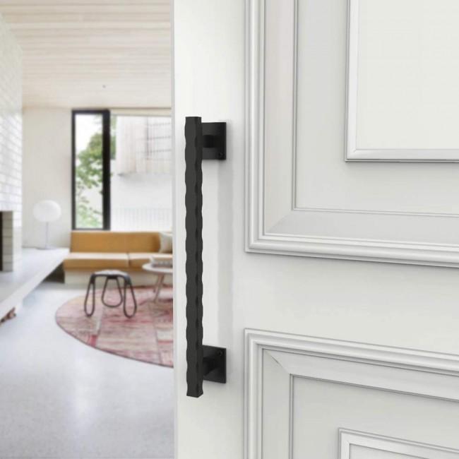 Winsoon heavy duty small size black steel wave door handle for sliding barn door hardware