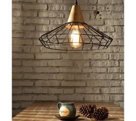 WinSoon Industrial DIY Metal Ceiling Lamp Light Vintage Pendant Lighting Wooden Head