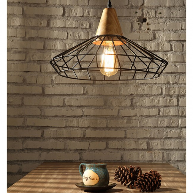 Winsoon Diy Metal Ceiling Lamp Light Vintage Pendant Lighting Wooden Head