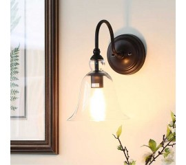 WinSoon Industrial Edison Wall Mount Light Lamp  Steel Finished Bell Glass