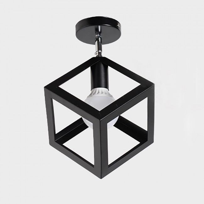 Winsoon Industrial Vintage Ceiling Light 1 Style Cube Metal Shade Art Painted Finished All S
