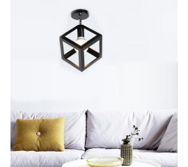 WinSoon Industrial Vintage Ceiling Light 1 Light Style Cube Metal Shade Art Painted Finished