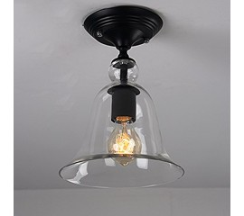 WinSoon Industrial Vintage Ceiling Light 1 Light Style Metal with Glass