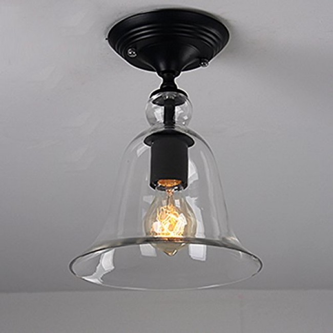 WinSoon Industrial Vintage Ceiling Light 1 Light Style Metal with Glass All Products