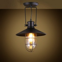 WinSoon Industrial Vintage Ceiling Light Style Metal with Glass Shade Art Painted Finish