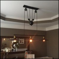 WinSoon Large Size Black Iron Painted Creative Pulley Style 3-Lights Pendant All Products