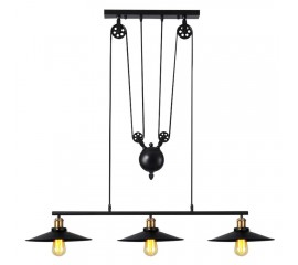 WinSoon Large Size Black Iron Painted Creative Pulley Style 3-Lights Pendant