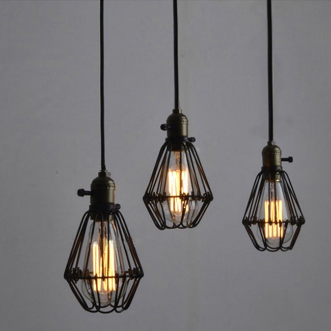 Winsoon Metal Pendant Light Shade Vintage Chandelier Retro Cage Lamp