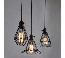 WinSoon Metal Pendant Light Shade Vintage Industrial Chandelier Retro Cage Lamp