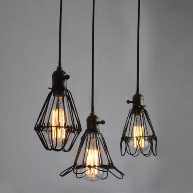 Winsoon metal pendant light shade vintage industrial for Metal hanging lights