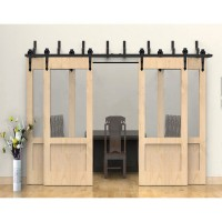 WinSoon Modern 4-Doors Bypass Sliding Barn Door Hardware Track Kit 5ft-16ft (Arrow)