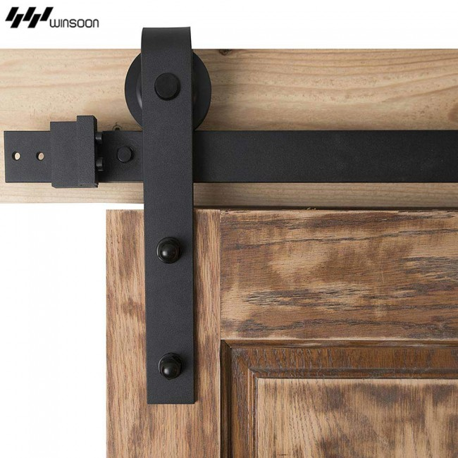 WinSoon Modern 4 Doors Bypass Sliding Barn Door Hardware Track Kit 5 16FT  (Bent)