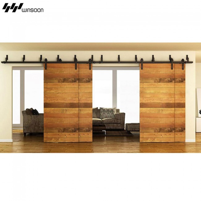 WinSoon Modern 4 Doors Bypass Sliding Barn Door Hardware Track Kit 5 16FT (