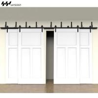 WinSoon Modern 4-Doors Bypass Sliding Barn Door Hardware Track Kit 5ft-16ft (Bent)