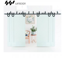 WinSoon Modern 4-Doors Bypass Sliding Barn Door Hardware Track Kit 5ft-16ft (Horseshoe)