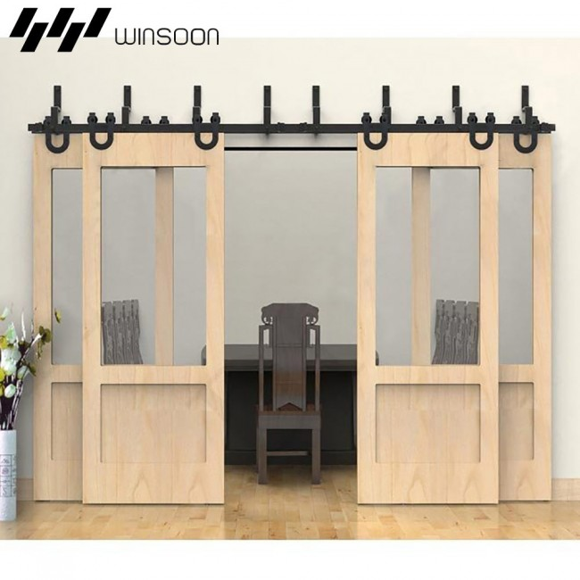 Charmant WinSoon Modern 4 Doors Bypass Sliding Barn Door Hardware Track Kit 5 16FT ( Horseshoe)