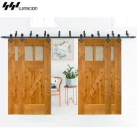 WinSoon Modern 4-Doors Bypass Sliding Barn Door Hardware Track Kit 5ft-16ft (Rhombus)