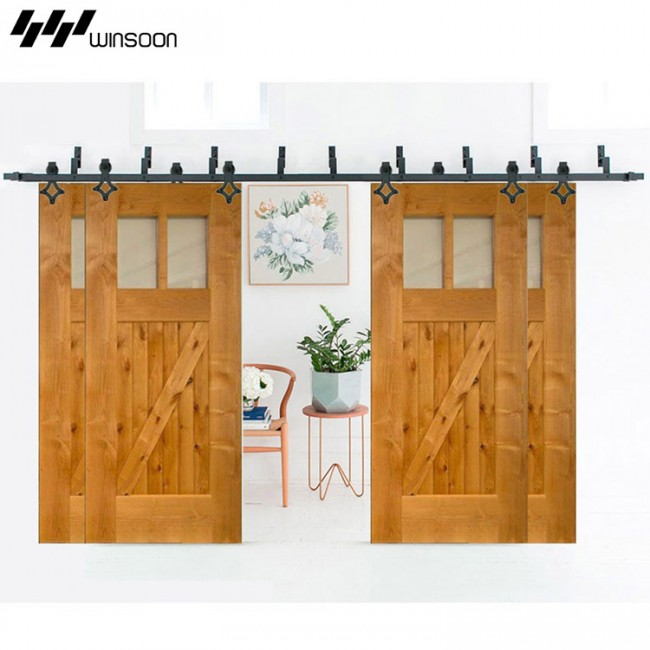 Wonderful WinSoon Modern 4 Doors Bypass Sliding Barn Door Hardware Track Kit 5 16FT  (Rhombus)