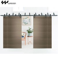 WinSoon Modern 4-Doors Bypass Sliding Barn Door Hardware Track Kit 5-16FT (Rhombus)