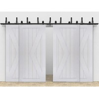 WinSoon Modern 4-Doors Bypass Sliding Barn Door Hardware Track Kit 5-16FT (T-Bent)