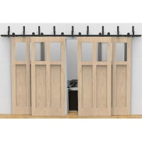 WinSoon Modern 4-Doors Bypass Sliding Barn Door Hardware Track Kit 5ft-16ft (T-Formed)