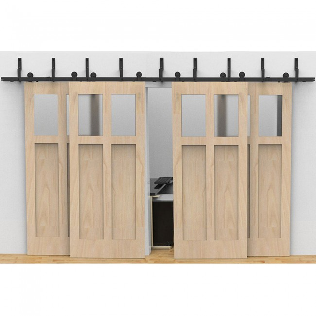 Winsoon Modern 4 Doors Bypass Sliding Barn Door Hardware Track Kit 5