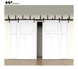 WinSoon Modern 4-Doors Bypass Sliding Barn Door Hardware Track Kit 5ft-16ft (Bent)
