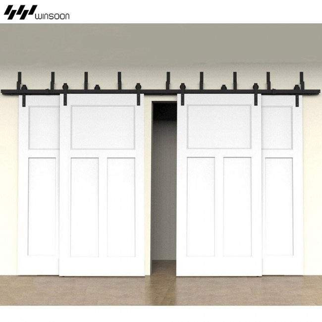 Bypass Barn Door Hardware modern 4-doors bypass sliding barn door hardware track kit 5-16ft