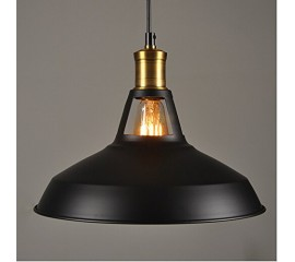 Winsoon Modern Industrial Loft Bar Ceiling Light Metal Pendant Lamp Shade Hanging (Black)