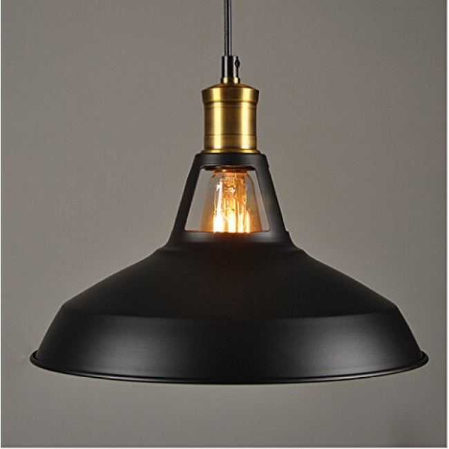 outlet store f1f0d 993cb Winsoon Modern Industrial Loft Bar Ceiling Light Metal Pendant Lamp Shade  Hanging (Black)
