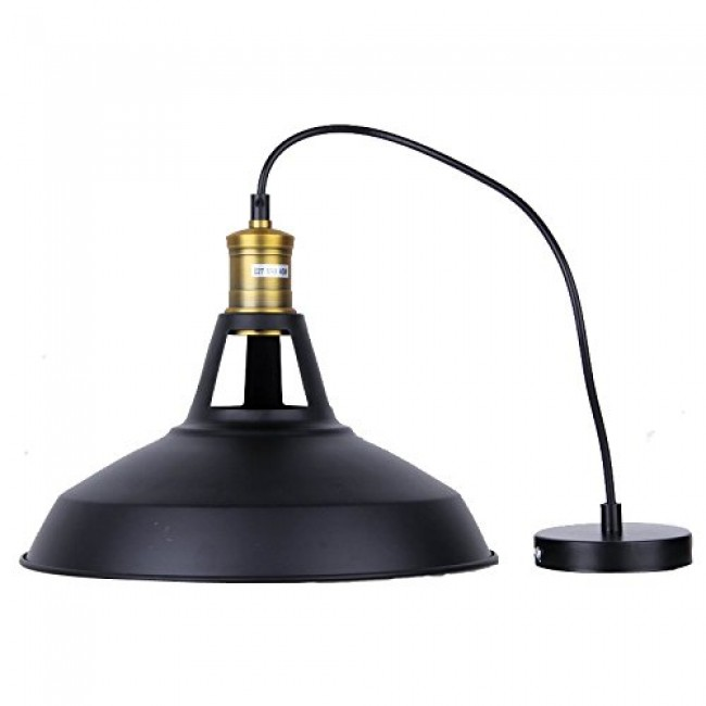 Winsoon Modern Industrial Loft Bar Ceiling Light Metal Pendant Lamp Shade  Hanging (Black) All