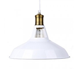Winsoon Modern Industrial Loft Bar Ceiling Light Metal Pendant Lamp Shade Hanging (White)