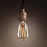 WinSoon Modern Vintage Industrial Base Socket Hanging Ceiling Lamp Copper Shade