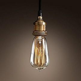 WinSoon Modern Vintage Industrial Base Socket Hanging Ceiling Lamp Copper Shade