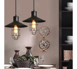 WinSoon Modern Vintage Industrial Black Metal Loft Ceiling Light Shade