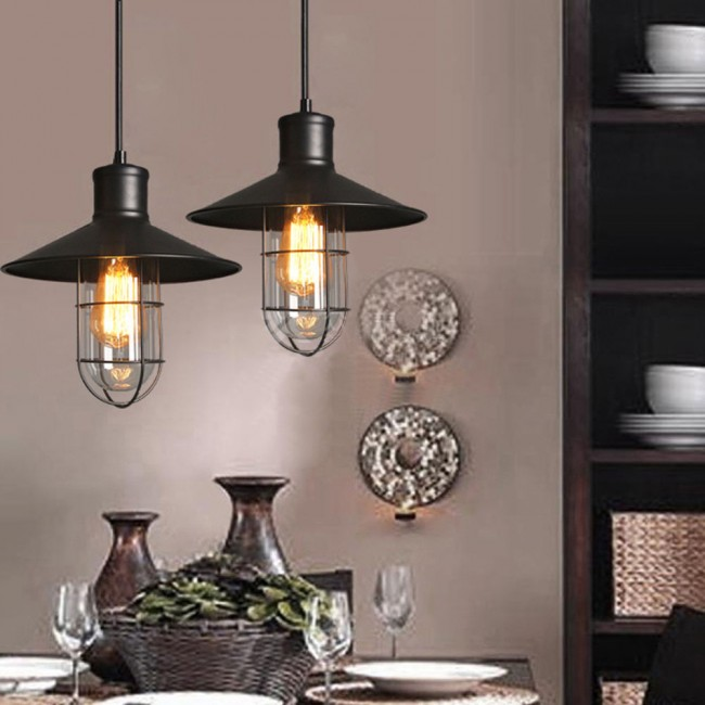 Winsoon Modern Vintage Black Metal Loft Ceiling Light Shade All Products