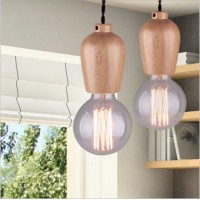 WinSoon Modern Vintage Industrial Hanging Ceiling Lamp Wood Shade Pendant  Light