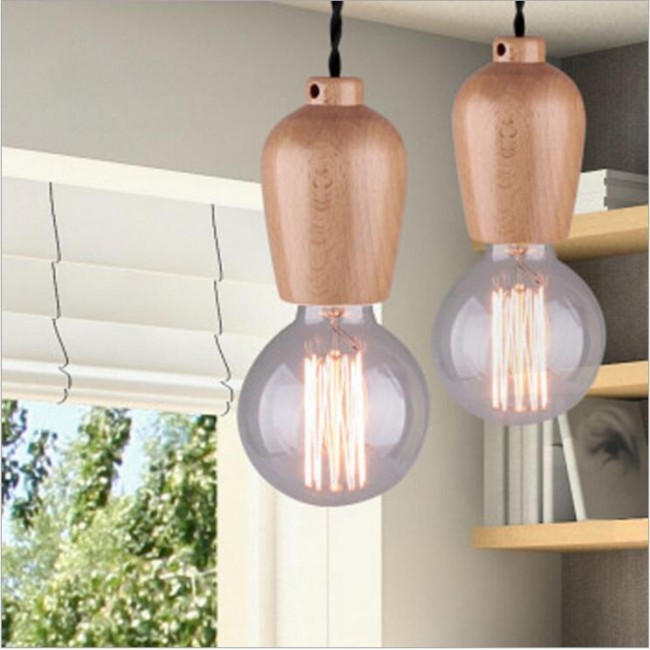 WinSoon Modern Vintage Industrial Hanging Ceiling Lamp Wood Shade ...