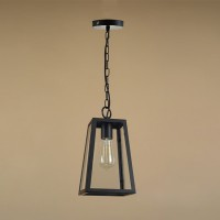 WinSoon Modern Vintage Industrial Hanging Glass Box Cage Metal Art Pendant Light